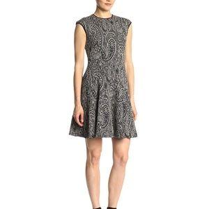 Gabby Skye Metallic Fit Flare Cap Sleeve Dress 10